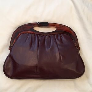vintage maroon faux leather clutch acrylic handle